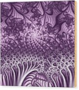 Lilac Fractal World Wood Print
