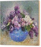 Lilac In Blue Vase Wood Print