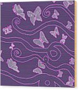 Lilac Silhouette Of Woman With Butterflies Wood Print