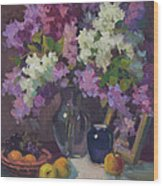 Lilacs And Blue Vase Wood Print