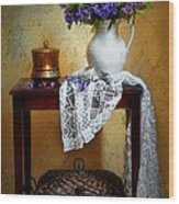 Lilacs And Lace Wood Print by Diana Angstadt