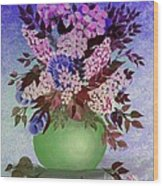Lilacs And Queen Anne's Lace In Pink And Purple Wood Print