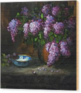 Lilacs In Copper Pot Wood Print