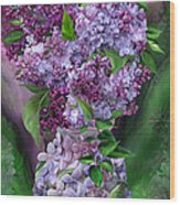 Lilacs In Lilac Vase Wood Print