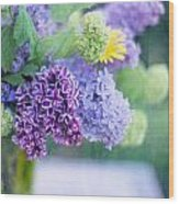 Lilacs On The Table Wood Print by Rebecca Cozart