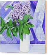 Lilacs With Abstract Wood Print