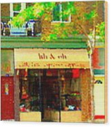 Lili And Oli Latte Espresso Cappucino Coffee Shop Rue Notre Dame St Henri City Scene Carole Spandau Wood Print