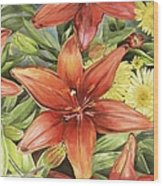 Lilies And Daisies Wood Print
