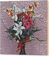 Lilies And Orchids Digitized Purple Wood Print