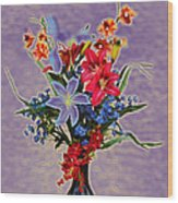 Lilies And Orchids Topaz II Wood Print