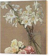 Lilies In A Vase Wood Print