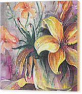 Lilies In A Vase Wood Print