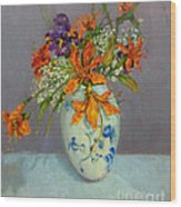 Lilies in Delft Wood Print
