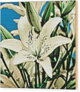 Lilies In White Wood Print