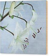Lilies On Blue Wood Print