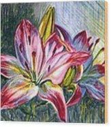 Lilies Twin Wood Print
