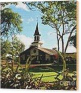 Liliuokalani Church - Haleiwa Hawaii Wood Print