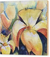 Lillys With Birds Wood Print