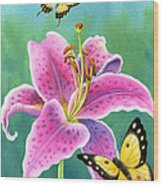 Lily And Butterflies Wood Print