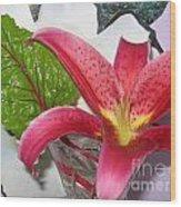 Lily And Leaf Wood Print