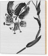 Lily In Black Wood Print