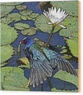 Lily Pad With Bird Wood Print
