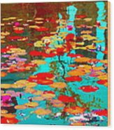 Lily Pads And Koi Colorful Water Garden In Bloom Waterlilies At The Lake Quebec Art Carole Spandau  Wood Print