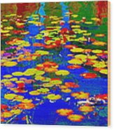 Lily Pads And Koi  Pond Waterlilies Summer Gardens Beautiful Blue Waters Quebec Art Carole Spandau  Wood Print