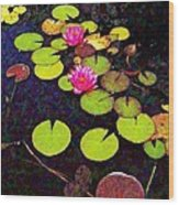 Lily Pads With Pink Flowers - Square Wood Print