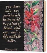 Lily Quote Wood Print