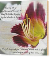 Lily With Scripture Wood Print