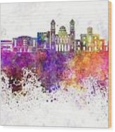 Limassol Skyline In Watercolor Background Wood Print
