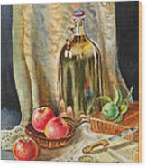 Lime And Apples Still Life Wood Print