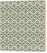 Lime Green And White Vines Wood Print