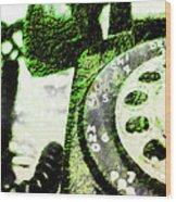 Lime Rotary Phone Wood Print