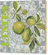 Limes On Damask Wood Print