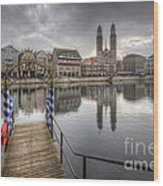 Limmat River Reflections Wood Print