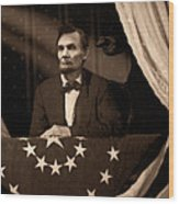 Lincoln At Fords Theater Wood Print