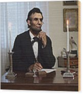 Lincoln At His Desk 2 Wood Print by Ray Downing