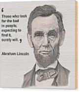 Lincoln Card Wood Print