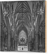 Lincoln Cathedral Nave Wood Print by Ian Barber
