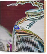 Lincoln Hood Ornament - Grille Emblem -1187c Wood Print by Jill Reger