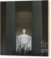 Lincoln Memorial At Night Wood Print