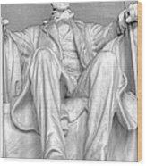 Lincoln Memorial Black/white Hdr Wood Print