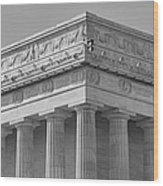 Lincoln Memorial Columns Bw Wood Print by Susan Candelario