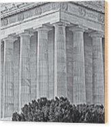 Lincoln Memorial Pillars Bw Wood Print
