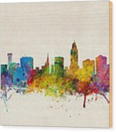 Lincoln Nebraska Skyline Wood Print