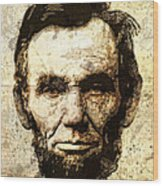 Lincoln Sepia Grunge Wood Print