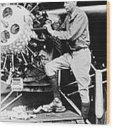 Lindbergh Tunes Up Plane Wood Print