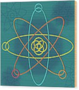 Line Atomic Structure Wood Print